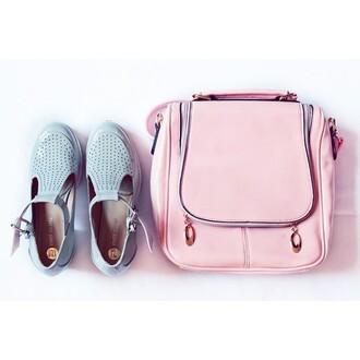 bag pink pastel shoulder bag zip