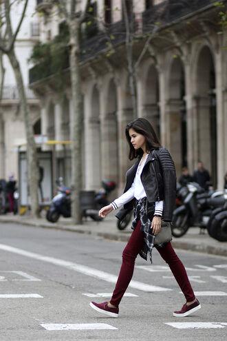 fake leather blogger bag vans leather jacket skinny pants
