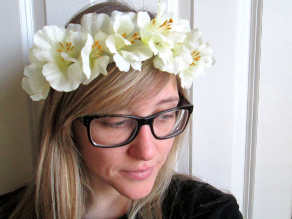 White flower crown by floralcrown on etsy