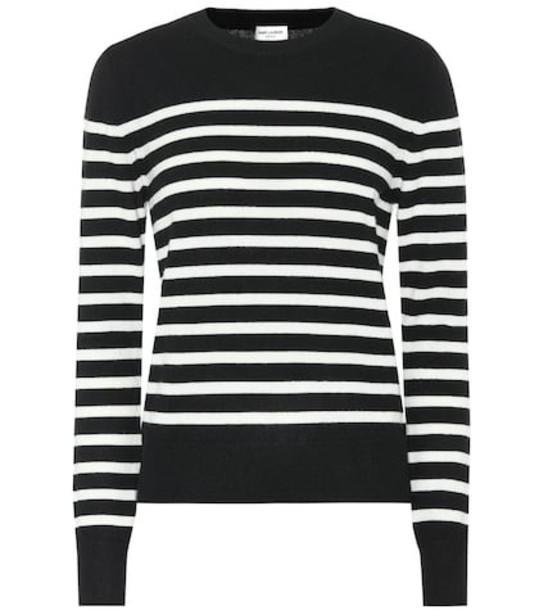 Saint Laurent Striped cashmere sweater in black