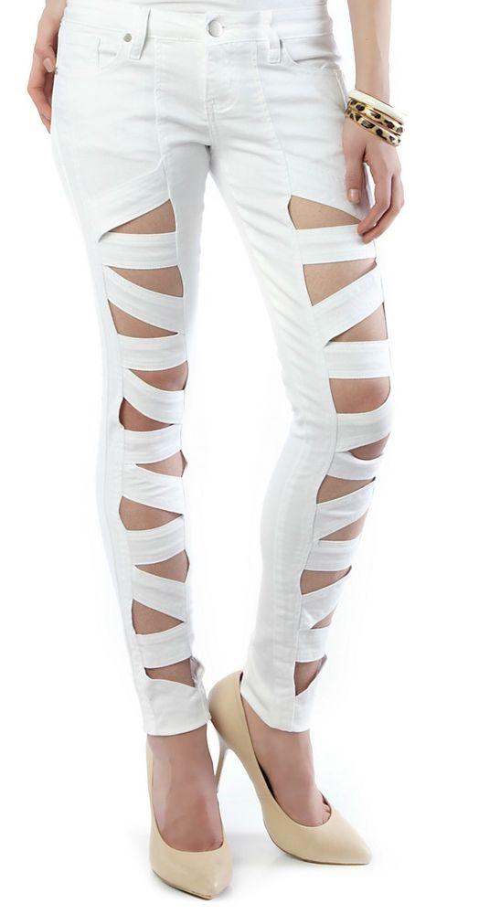 CUT OUT Lattice Leg Bandage Cutout Skinny Jeans White 3/4 , 9/10 ...