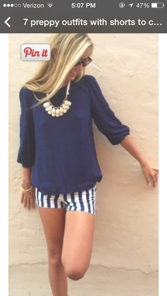 shorts stripes blue and white blue and white striped blouse