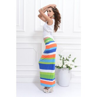 dress sleeveless tops blue and white striped striped skirt knee long skirt blue long skirt blue green long skirt two pieces dres
