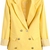 Yellow Notch Lapel Contrast Striped Cuff Blazer - Sheinside.com