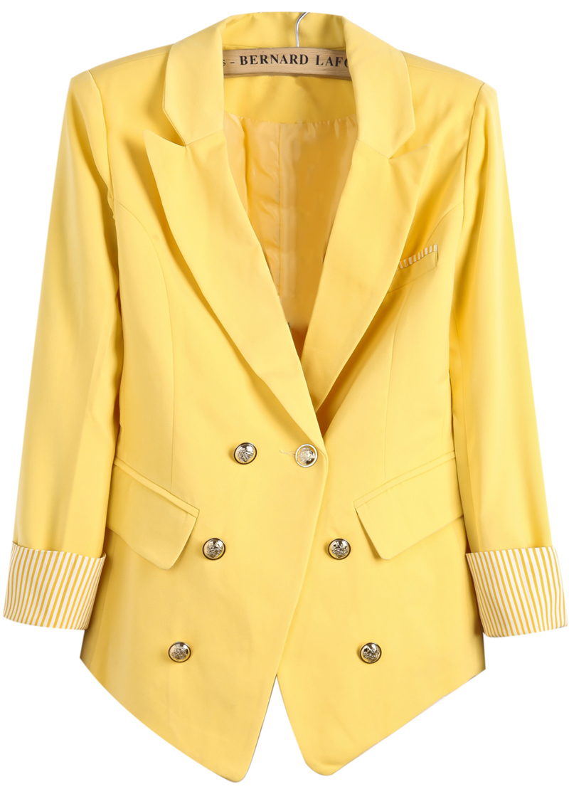 Yellow Notch Lapel Contrast Striped Cuff Blazer - Sheinside.com