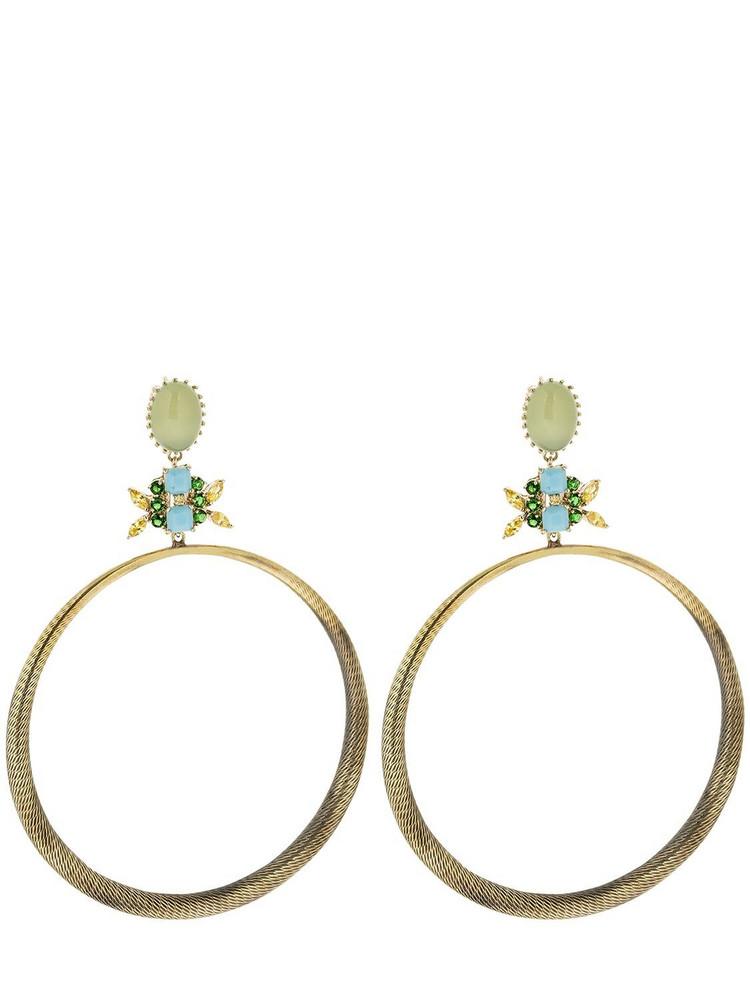 IOSSELLIANI Agate Hoop Earrings in gold / green
