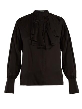 blouse jacquard silk black top