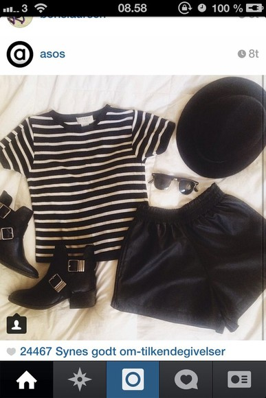 black boots hat t-shirt shorts asos clothes stripe stripes harry potter