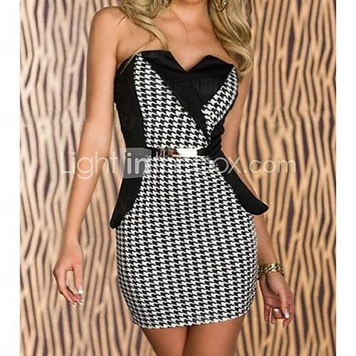 [usd $ 14.99] women's belt attached black white houndstooth peplum dress