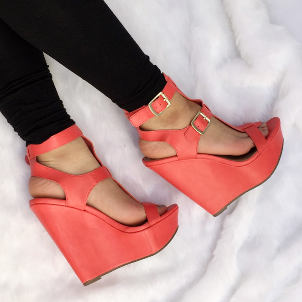 801dfd811481 Coral Faux Leather Ankle Strap Wedges   Cicihot Wedges Shoes Store ...