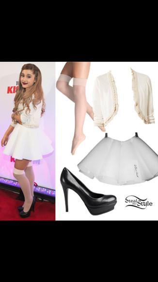 white sweater skirt ariana grande white skirt nude tights black heels