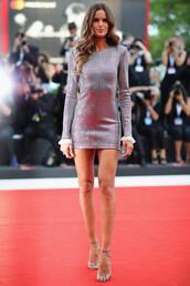 dress,izabel goulart,venice,mini dress,silver dress,model,sandal heels,sandals