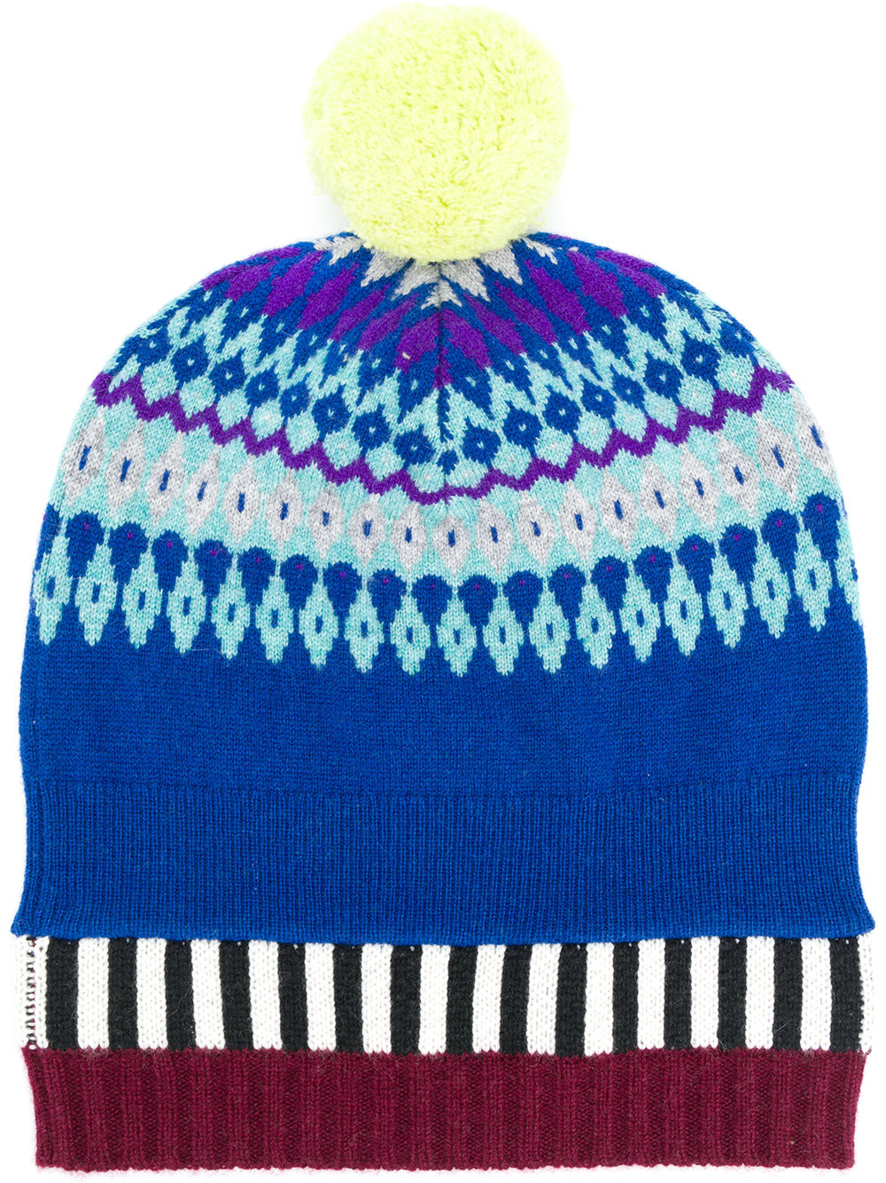 c8dc4cc3474 Burberry Fair Isle pompom beanie hat - Blue