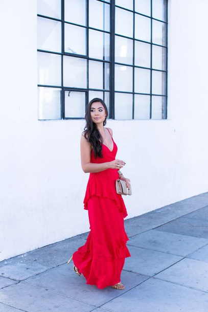 with love from kat blogger dress jewels bag shoes red dress maxi dress