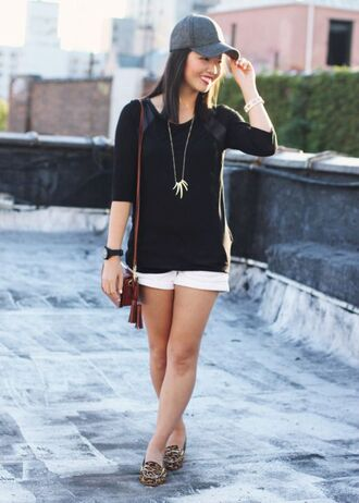 hat black shirt white distressed shorts brown handbag silver necklace blogger grey cap