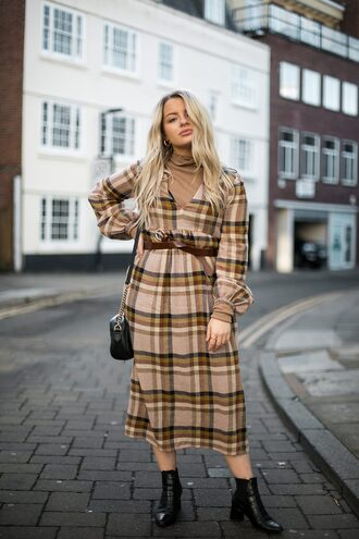 dress tumblr midi dress plaid plaid dress tartan tartan dress boots black boots ankle boots