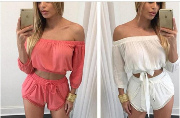 68c699108d romper fashion 2 piece short set sexy outfit crop tops shorts crop top and shorts  set