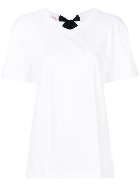 MARNI t-shirt shirt t-shirt back open open back women white cotton top