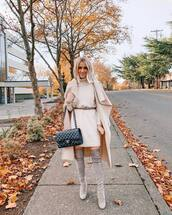 dress,turtleneck dress,knitted dress,midi dress,belted dress,thigh high boots,suede boots,shoulder bag,coat,wool coat,long coat