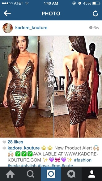 gold sequins backless dress sexy dress party outfits holiday dress w.ebonylace.net