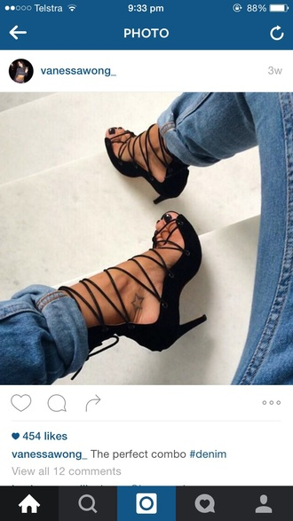 shoes lace up high heels fashion instagram peep toe pumps