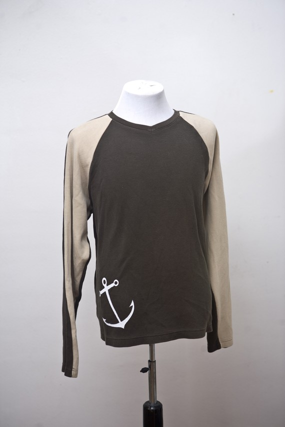 Medium upcycled henley with screen printed anchor by brightwall