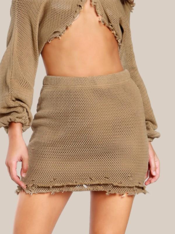 skirt girly two-piece matching set knit mini mini skirt cute
