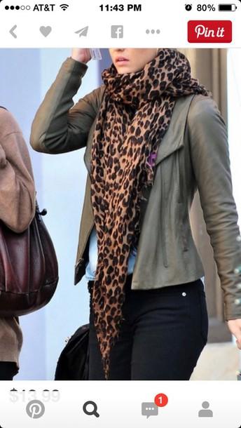 scarf leopard print jacket khaki black black pants
