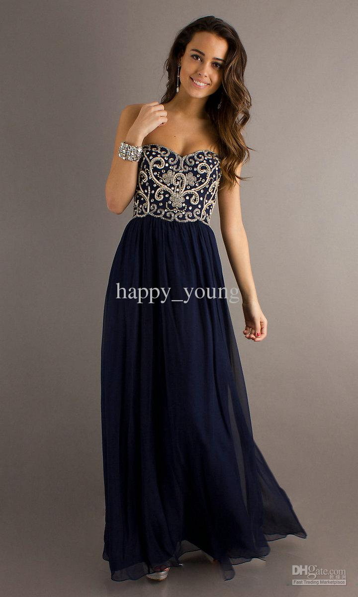 Cheap Prom Dresses - Discount Embroidery Dark Navy Blue Long Cheap Chiffon Prom Online with $98.16/Piece | DHgate
