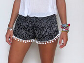 shorts,cotton,pom pom,black shorts,white shorts,pom poms,black,white,girl,tumblr,fashion,jewels,short,clothes,black and white,cute,summer,summer shorts,printed shorts,tassled shorts,style,2014,spring,polka dots,pattern,shorts black,hippie,and,bandw,pants,balls,puffs,navy,blue,fringes,flowy shorts,loose shorts,pom pom shorts,shirt,denim,denim vintage shorts,embroidered shorts,girly,hot,hipster,girly outfits tumblr,top,bracelets,t-shirt,spotty,pompom shorts,indie,casual,cute shorts,cool,shorts with spikes,aztec,print,black and white shorts,aztec short,outfit,noir  et blanc,ponpon,motifs,playa,plage,beautiful,grau,kurze,hose,boho patterns shorts,indie boho,boho shorts,boho,indie shorts