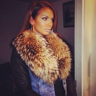 scarf scarf ❤ jacket fur jeans denim jacket faux fur jacket black brown leather jacket