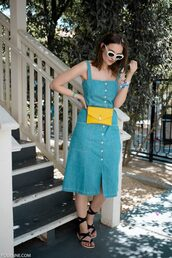 dress,sundress,sandals,black sandals,bag,belt bag,yellow bag,sunglasses