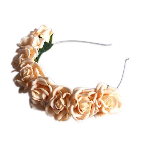 Lotta Rosie Headband  Peachy Keen by crownandglory on Etsy