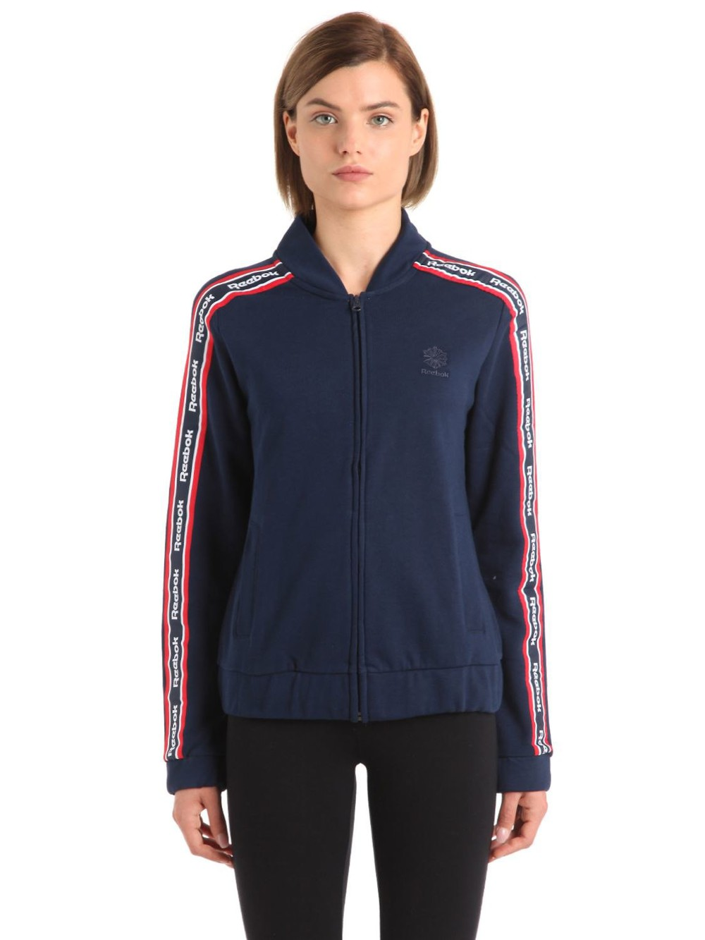 REEBOK CLASSICS Cotton Track Jacket With Logo Bands in navy