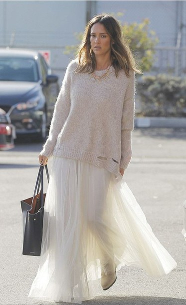 skirt,sweater,jessica alba,fall outfits,spring outfits,maxi skirt,tulle skirt