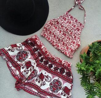 shirt tribal pattern elephant red two-piece elephant print halter top shorts dress flowy shorts red shorts crop tops red crop top elephant shorts red floral crop top blouse top white boho shirt hippy shirt