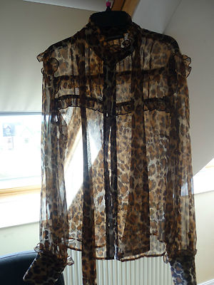 Principles chiffon leopard animal print long sleeve blouse shirt top  size 10
