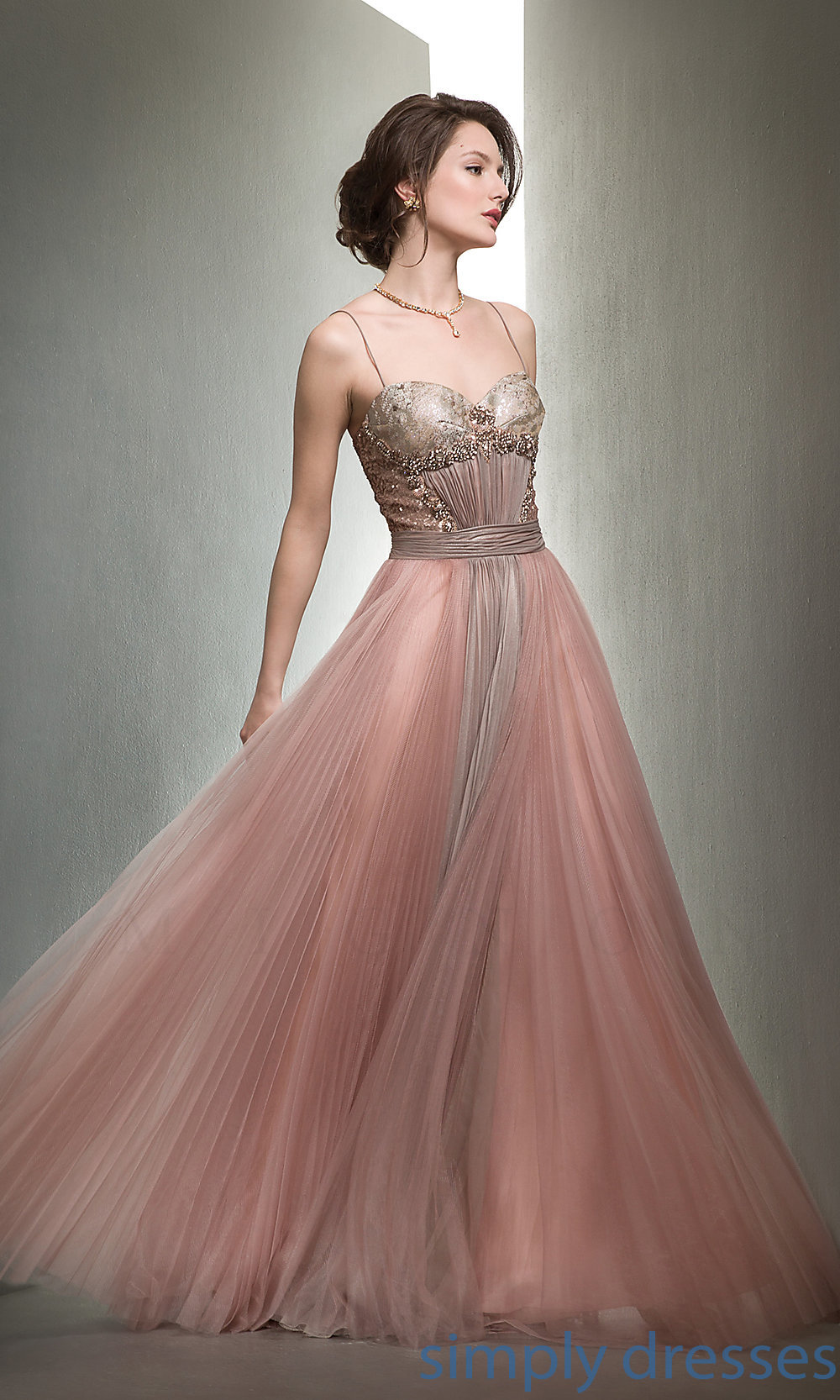 Long Spaghetti Strap Sweetheart Ball Gown by Mignon