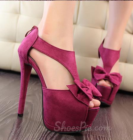 Sophisticated Bowknot Suede Platform Sandals