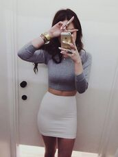 skirt,top,outfit,jumpsuit,hair,clothes,grey clothes,girly outfits tumblr,instagram,glitter,little,girl,gray crop top,crop tops,white skirt,shirt,white pencil skirt,long sleeve crop top,gold watch,t-shirt,pencil skirt,white,grey top,dress,two piece dress set,cropped shirt,grey,cute shirt,tumblr,hot,cute,grey crop top,mini skirt,evening outfits,casual dress