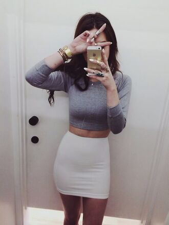 long sleeve crop top grey long sleeve tight pencil skirt shirt skirt top outfit hair clothes grey clothes girly outfits tumblr instagram glitter little girl gray crop top crop tops white skirt beige skirt grey shirt white pencil skirt gold watch body con skirt cropped grey crop shirt iphone grey crop top tumblr outfit grey sweater white jewels short bandage