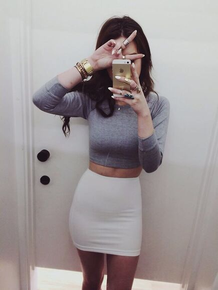 top white skirt crop tops skirt outfit gray crop top