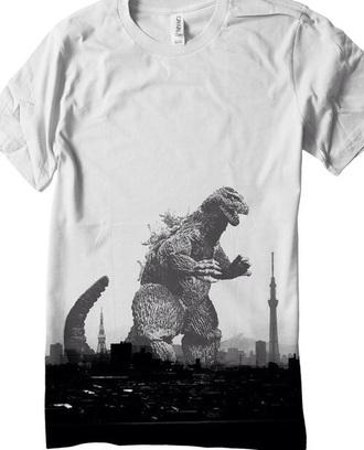shirt gozilla white t-shirt t-shirt hipster
