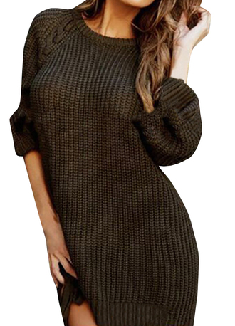 sweater long sleeves loose sweater round neck lace up sweater dress pullover side split