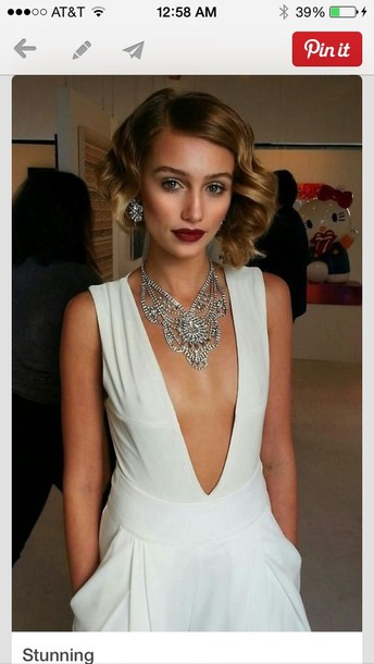 dress white dress white open front plunge v neck v neck dress deep v dress deep v low v neck sexy party dresses party dress wedding dress jewels necklace jewelry knee length plunge neckline classic all white vintage stylish elegant