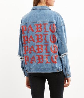 jacket girl girly girly wishlist kanye west pablo denim denim jacket ripped the life of pablo