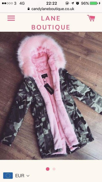 coat pink style fashion jacket instagram girl camouflage winter coat winter outfits