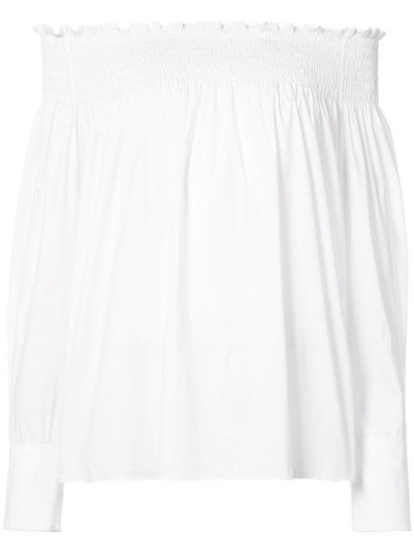 Yigal Azrouel blouse off the shoulder women spandex white cotton top