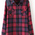 Red Lapel Long Sleeve Plaid Pockets Blouse - Sheinside.com