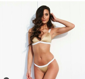 swimwear summer beige white white swimwear gold bikini